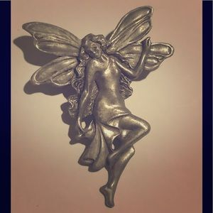 Large sized pewter fairy singed